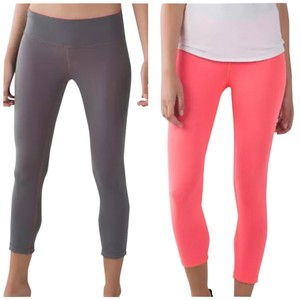 Lululemon New With Tags Lululemon Wunder Under Crop Size 10 Grapefruit And Slate Reversible