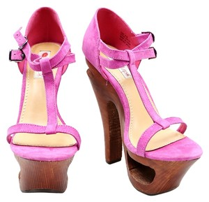 Two Lips Fuchsia 2 T-strap Pink Platforms