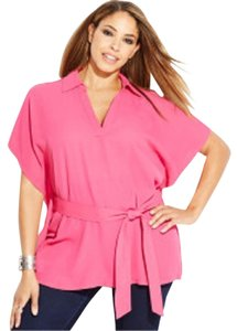 INC International Concepts Plus Size 1x V-neck Batwing Top Pink