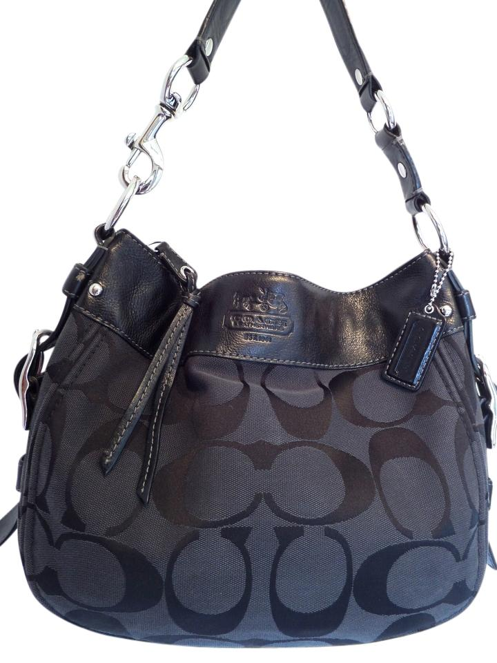 7502e31701b31 Coach F12657 Leather Jacquard Signature Zoe Hobo Shoulder Bag Image 0 ...