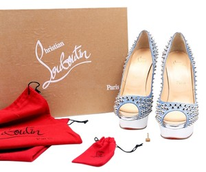 Christian Louboutin Lady Peep Toe White Silver Blue Pumps Blue/SiIlver/White Platforms