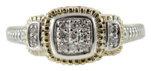 Judith Ripka Judith Ripka Sterling Silver 18K Yellow Gold .15tcw Pave Diamond Square Ring