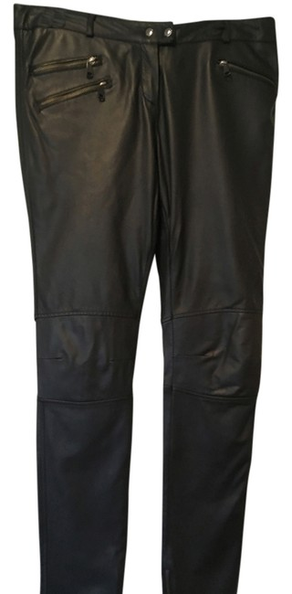 Item - Black Leather Motorcycle Style Pants Size 12 (L, 32, 33)