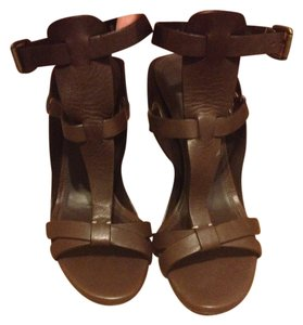 Ralph Lauren Wedge Gladiator Leather Ankle Strap Brown Sandals