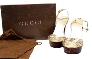Gucci Leopard Print Brown Gold Strappy Brown/Gold/Leopard Print Platforms