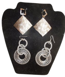 Other 2 pair big silvertone earrings