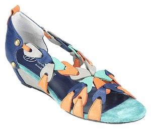 Hayden-Harnett Blueberry Color Co Color-blocking Braided Leather Suede Balenciaga Colorblock, blue, orange, teal, greay Wedges