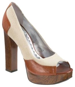 Gianni Bini Chunky Block Heels Canvas Preppy Marni Tan, brown, off white, ecru Pumps