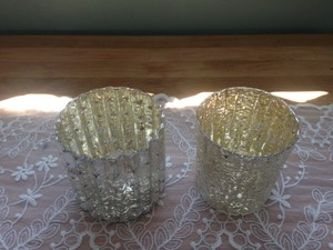Silver & Gold Two Mercury Glass Votive Holders