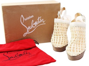 Christian Louboutin Cream Ankle Buckle Strap Cream/Off White Boots