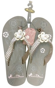 Montana West Bling Crystal Flower Studded Brown Sandals