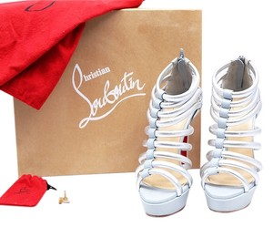Christian Louboutin Ice Blue Ankle Boot Romaine Sandals Silver/Grey Platforms