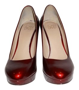 Joan & David Leather Pump Evening Dark Red Patent Pumps