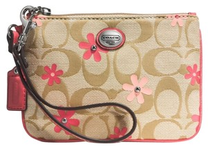 Coach Canvas Daisy Flowers Wristlet in Khaki/Coral
