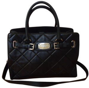 463119065641 Michael Kors Hamilton Leather Quilted Silver Hardware Satchel in Black
