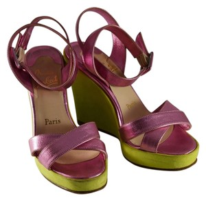 Christian Louboutin Wedge Lime Platform Pink Wedges