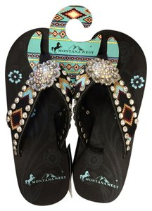 Montana West Wedge Studded Bling Aztec Black Sandals