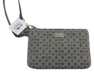 Coach Needlepoint Op Art Madison Wallet Wristlet in Light Grey