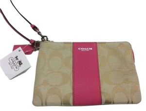 Coach Legacy Signature Small Wallet Wristlet in Light Khaki/Pink Ruby
