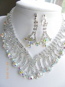 Choker Rhinestone Ab Crystal Clear Necklace&earring Set