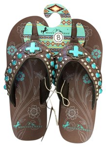 Montana West Wedge Turquoise Studded Brown Sandals