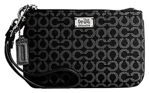 Coach Madison Small Needlepoint Op Art Wristlet in Black