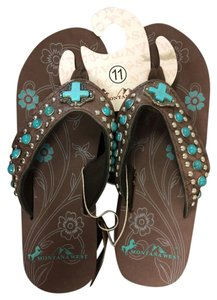 Montana West Wedge Studded Turquoise Brown Sandals