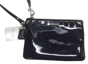 Coach Small Patent Leather Studded Leather Wristlet in Black