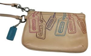 Coach Leather Small Wristlet in Tan