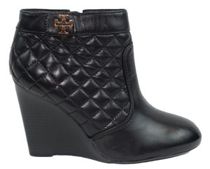 Tory Burch Quilted Logo Ankle Leather Wedges Nib Box Nwt New Brand New Leila 9.5 Quilted Leila Quilted Ankle Wedge 9.5 Black Boots