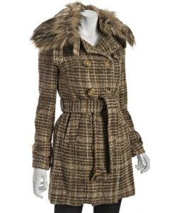 Betsey Johnson Tweed Tortoise Shell Winter Wool Like New Fall Runway Line Warm Plaid Brown Classic Winter Double Breasted Fur Faux Coat