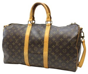 Louis Vuitton Vintage Monogram Leather Keepall Speedy Bandouliere 45 Travel Luggage Brown Travel Bag