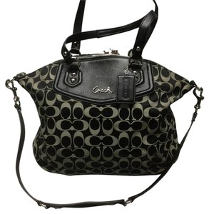 Coach Signature Ashley Tote Crossbody Satchel in Black
