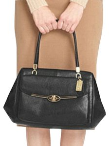 Coach Shoulder Crossbody Leather Madison Madeline Satchel in Black