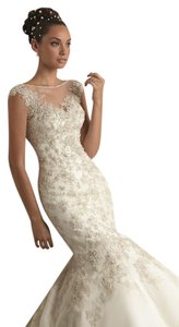 Mori Lee Ivory Beaded Appliquas Over Embroidery On Net 1288 Modern Wedding Dress Size 6 (S)