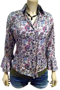 Bell P718 Floral Print 3/4 Sleeves Size Small Top Blue, red, white, green