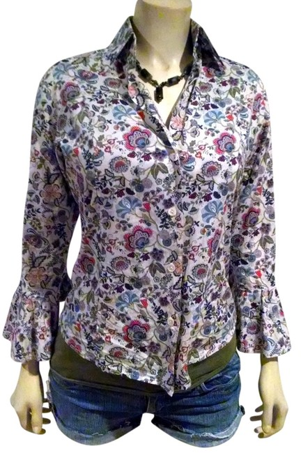 Item - Blue Red White Green Button Down Small Flared Sleeves Floral Print P718 Blouse Size 6 (S)
