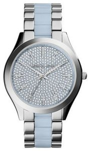 Michael Kors NWT Michael Kors Slim Runway Crystal Pave Dial Stainless Steel Ladies Watch