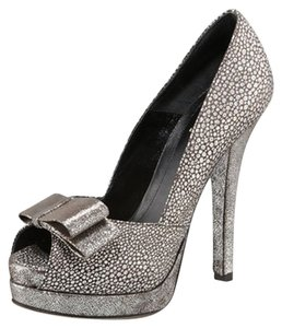 Fendi Crackled Suede Metallic Silver Deco Silver/Pewter Pumps