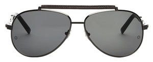 Montblanc Mont Blanc MB 454 Slate Dark Grey Aviator Leather Sunglasses NEW AUTHENTIC