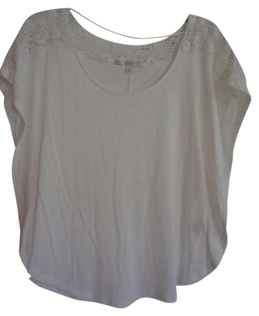 LC Lauren Conrad T Shirt White with lace details
