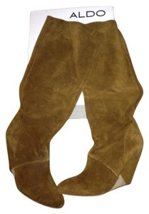 ALDO Wedge Slouch Suede Fall Winter Luggage/ Chestnut Brown Boots