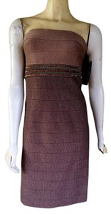 Carmen Marc Valvo Bandage Beaded Dress