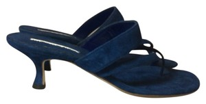 Manolo Blahnik Denim Blue Sandals