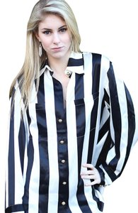 Balmain x H&M Silk Striped Top Black & White