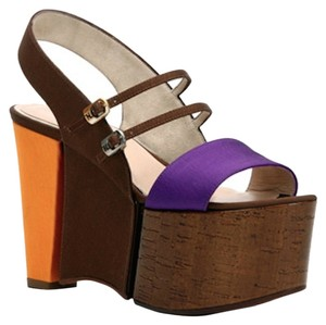 Fendi Monster Monster Color-blocking Grosgrain Cork Heels Sandals Purple, Brown, Yellow, Goldenrod, Silver, Gold Platforms