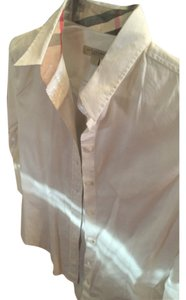 Burberry Brit Button Down Shirt White with plaid nova check trim.