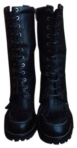 Tory Burch Pebbled Leather Stiletto Black Boots