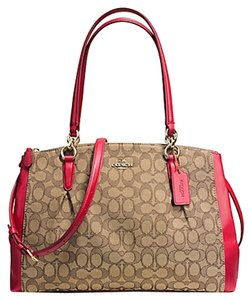 Coach 36721 F36721 Carryall Satchel in Red Khaki Brown signature