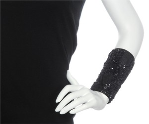 Dries van Noten BLACK EMBROIDERED ZIPPER CUFF